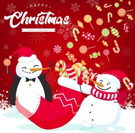 christmas banner snowman candies icons red decor