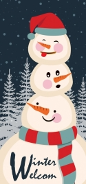 christmas banner snowman icons outdoor snowy design