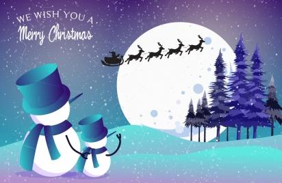 christmas banner snowman moonlight snowy outdoor decoration