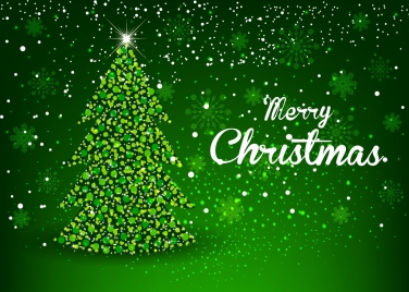 christmas banner sparkling green decor fir tree icon