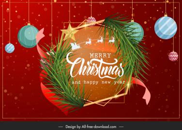 christmas banner template bright elegant baubles wreath decor