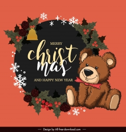 christmas banner template classic cute teddy bear decor