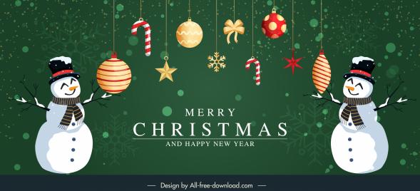 christmas banner template elegant baubles snowman decor