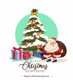 christmas banner template fir tree santa presents sketch