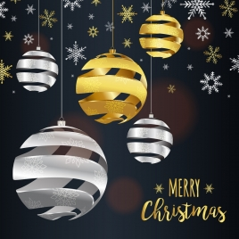 christmas banner template snowflakes twisted spheres decoration