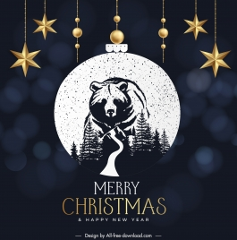 christmas banner template wild bear sketch baubles decor
