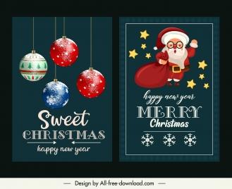 christmas banner templates classic baubles santa sketch
