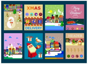 christmas banner templates illustration with various symbols