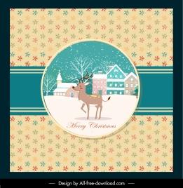christmas card template snowflakes reindeer snow scene decor