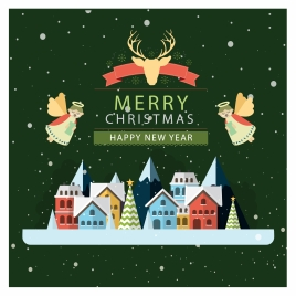 christmas card vector illustration with flying angels