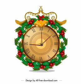 christmas clock icon classic elegant colorful decorated