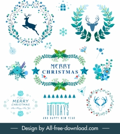 christmas decor elements wreath reindeer floras sketch