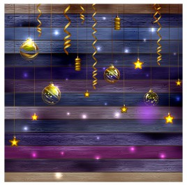christmas decor with golden ball star hang on wood background