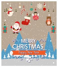 christmas decoration with hanging santa and xsmas symbols