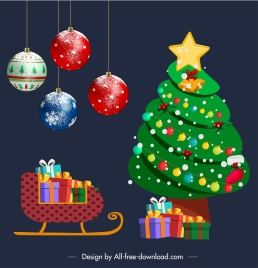 christmas decorative elements baubles fir tree sleighing sketch
