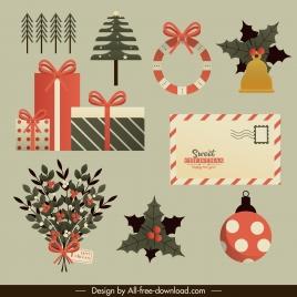 christmas design elements baubles gifts envelope flora sketch