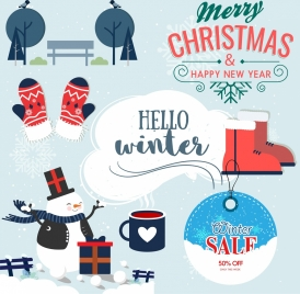 christmas design elements classical objects icons