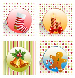 christmas design elements collection sock candle bell stick