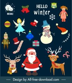 christmas design elements colorful classical symbols sketch