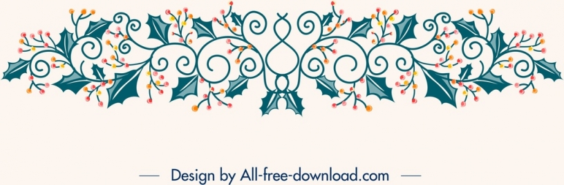 christmas design elements flowers icons classical symmetric decor