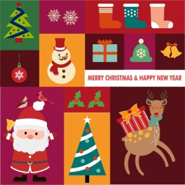 christmas design elements isolated with various types