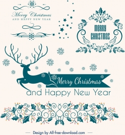 christmas design elements reindeer flowers icons classical decor