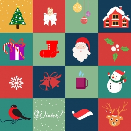 christmas design elements various symbols isolation