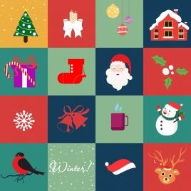 christmas design elements various symbols isolation