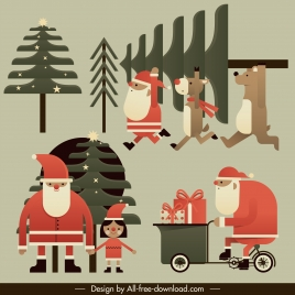 christmas elements fir tree santa animals sketch