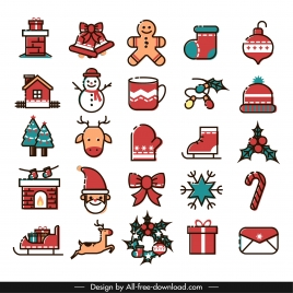 christmas icons collection colorful classical flat sketch