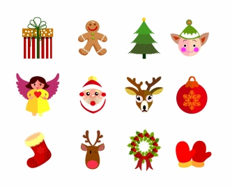 christmas icons with colorful flat design