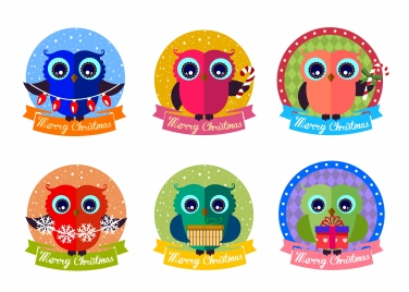 christmas label design elements isolated with owl illustration