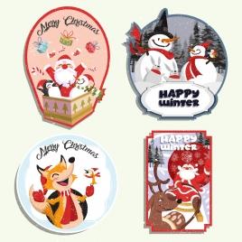 christmas labels collection santa snowman fox reindeer decor