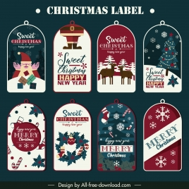 christmas labels templates classical flat decor rounded shaped