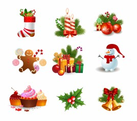 Christmas object element vector art