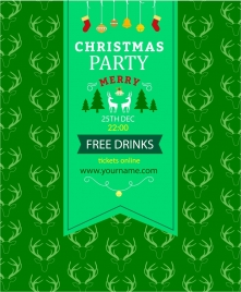 christmas party banner green and reindeer repeating pattern