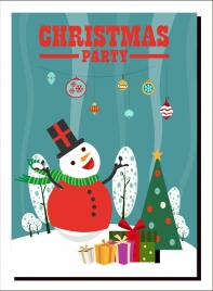 christmas party banner snowman giftboxes fir tree icons