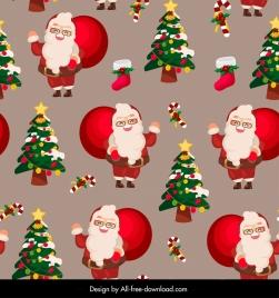 christmas pattern cute santa claus fir trees decor