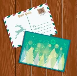 christmas postcard template classical envelope sparkling bokeh decoration