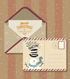 christmas postcard template classical snowman snowflakes decor