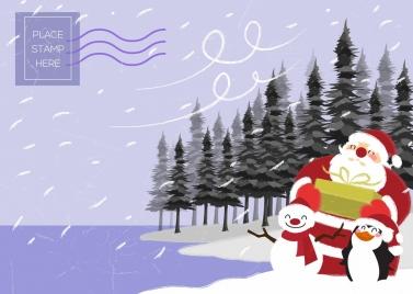 christmas postcard template santa snowman penguin icons