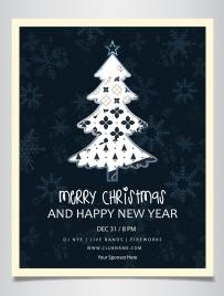 christmas poster fir tree icon dark design