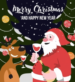 christmas poster santa stylized reindeer icon snowy background