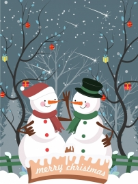 christmas poster snowman icons leafless trees outdoor snow