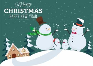 christmas poster stylized snowman family icon