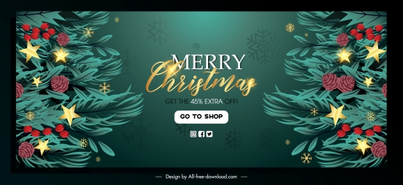 christmas sale banner template sparkling fir tree decor