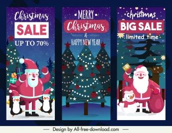 christmas sale flyers templates classic santa fir trees decor
