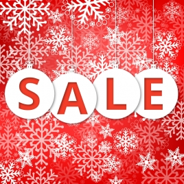 christmas sale poster with snowflakes and red background