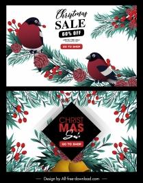 christmas sale posters birds pine tree elements decor