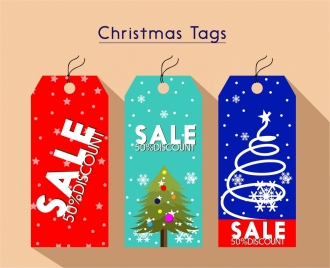 christmas sale tags collection various colors with emblems